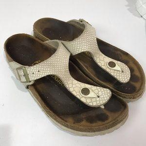 Birkenstock gizeh textured metallic white sandals